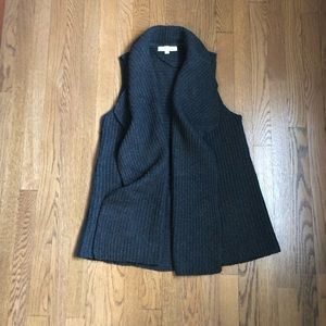 LOFT Ribbed Sweater Vest - charcoal gray